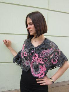 Grau und Pink Freihandform Schal, Schal häkeln, Shrug Bolero, Lace Shawl Wrap, böhmische Wear