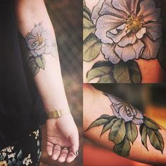 ---- Or a pretty pastel rose; gardenia would be pretty too. | 32 Cool And Colorful Tattoos That Will Inspire You To Get Inked