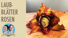 Rosen aus Herbstblätter - tolle Deko Idee für den Herbst. #mapleleaveroses #blätterrose #laubrose #rosendiy