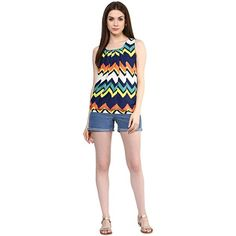 LadyIndia.com # TOPS & SHIRTS, Multicolored Zigzag Stipes Pattern Girls Top Designer Sleeveless Lycra Printed Top, Casual Wear, Summer Wear, TOPS & SHIRTS, Western Wear, https://ladyindia.com/collections/western-wear/products/multicolored-zigzag-stipes-pattern-girls-top-designer-sleeveless-lycra-printed-top?variant=32475708941