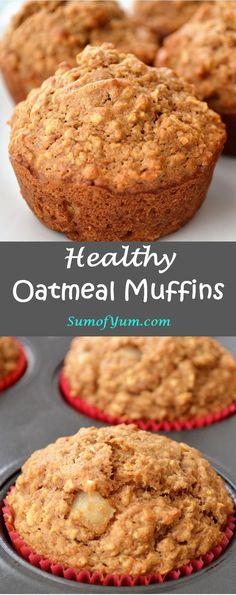 Apple Oatmeal Muffins, Applesauce Muffins, Oatmeal Cupcakes, Chocolate Muffins, Oatmeal Muffin Recipe, Oatmeal Cake, Cinnamon Muffins, Chocolate Chips, Oatmeal Flour
