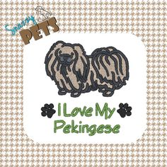 #Pekingese I Love My Pekingese embroidered on a tote bag by SnazzyPets, $25.00