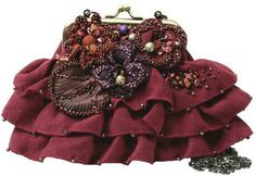 Mary Frances Bordeaux Bloom Red Mini Flower Bag Purse Handbag New Ruffle Bead | eBay