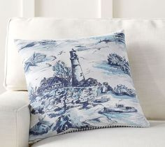 Lighthouse Print Reverse Stripe Pillow Cover | Pottery Barn