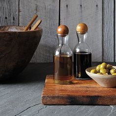 Glass Bottles With Wood Stoppers - Oil + Vinegar #WestElm