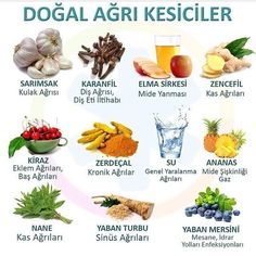 Natural pain killers Sorry it's in Turkish Health And Wellness, Health Tips, Health Fitness, Herbal Remedies, Health Remedies, Healthy Life, Healthy Eating, Healthy Food, Clean Eating