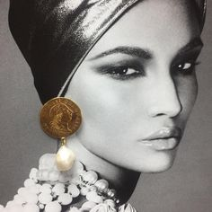 Statement large coins with big Pearl drops  Gold plated silver