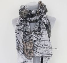 World Map Scarf Old World Map Scarf Map Scarf Sea Scarf Fashionable Scarf Handmade Scarf Christmas Gift Holiday Gift Large Scarf