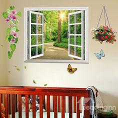 12fdb443d25 Forest Flower and Butterfly 3D Window Wall Sticker Set Window Stickers