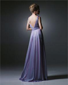 Satin A-line off-the-shoulder deep v-neck lavender 2009 Love by Enzoani long Prom Dresses EPD0024