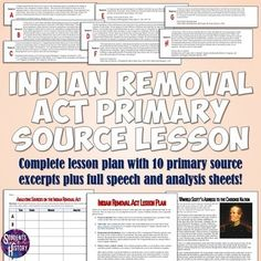 Indian Removal Act Primary Source Analysis... by Students of History | Teachers Pay Teachers
