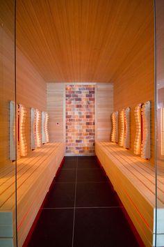 Infrared sauna with salt wall in NH Hotel Zandvoort, The Netherlands. Designed & realized by: 4SeasonsSpa (www.4seasonsspa-pro.com) Infra Sauna, Nh Hotel, Salt Room, Sauna Design, Mini Spa, Pool Care, Steam Sauna, Steam Room, Wellness Spa