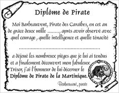 Diplôme pour les pirates qui ont réussi les épreuves! Deco Pirate, Pirate Theme, Pirate Party, Bateau Pirate, Teaching French, Treasure Island, Invitations, Recherche Google, Pin