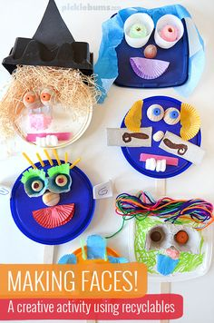 Making Faces from Recyclables - Picklebums Art Activities For Kids, Craft Projects For Kids, Preschool Art, Creative Activities, Crafts For Teens, Feelings Activities, Activity Ideas, Kids Crafts, Art Projects