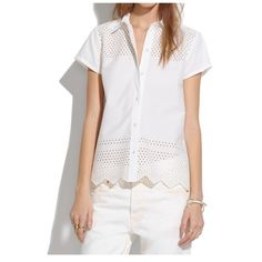 Madewell Latticework Top. NWT's, but has a mark on the tag to prevent store return. Beautiful top with endless possibilities, and is so fresh and airy! Let me know if you have any questions! Madewell Tops Button Down Shirts