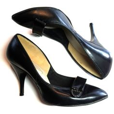 Studded Tab Trimmed Black Leather Stiletto Shoes 5 circa 1950s - Dorothea's Closet Vintage