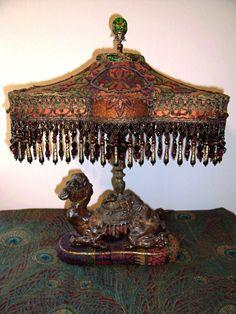 xx tracy porter...poetic wanderlust...-Vintage Camel Inkwell Beaded Fringe Lamp
