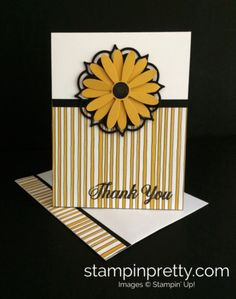 Daisy Punch & Eastern Medallions Thinlits Dies thank you card.  Mary Fish, Stampin' Up! Demonstrator.  1000+ StampinUp & SUO card ideas.  Read more https://stampinpretty.com/2017/06/simple-saturday-daisy-card-daisy-punch-is-back.html