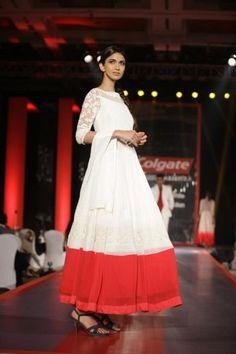 Manish malhotra white red border anarkali via IndianWeddingSite.com