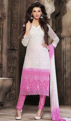 Genuine elegance comes out from your dressing trend with this off white and orchid chiffon salwar suit. The beautiful chikan, jaal, resham and stones work throughout attire is awe-inspiring. #NewStyleCasualDreess