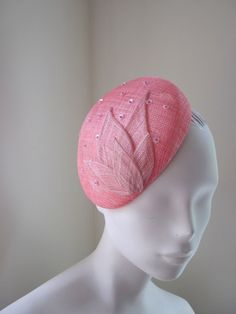 Women Cocktail Hat Fascinator  Coral and Pink by MindYourBonce