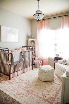25 Ideas for baby girl nursery ikea Baby Bedroom, Baby Room Decor, Girls Bedroom, Wall Decor, Girl Rooms, Iron Crib, Blush Nursery, Rose Nursery, Home Decoracion