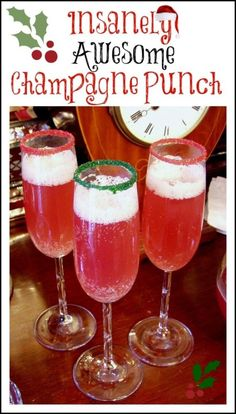 christmas drinks Champagne Punch Perfect for a Christmas or New Years Party Christmas Cocktails, Holiday Drinks, Holiday Treats, Christmas Treats, Fun Drinks, Yummy Drinks, Christmas Fun, Alcoholic Drinks, Christmas Party Ideas For Adults