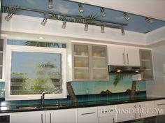 Coconut Tree Sky Ceiling Kitchen - tropical - kitchen - hawaii - Thomas Deir Studios
