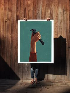 Bird in Hand.  extra large wall art . giclee by ClareElsaesser