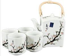 Tea Set Cherry Blossom White, Japanese Tea Sets, Tea Gifts, Tea Sets | Japanese Style, Inc.