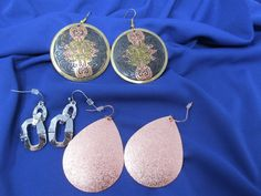 Vintage Earrings - 3 Pairs included - vintage womens jewelry lot, copper earrings, silver chain earrings, black copper by CellarDeals on Etsy