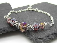 Plum Crystal Bridesmaid Bracelet Purple Bridal Jewellery