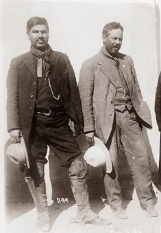 Pancho Villa ... with right-hand man Rodolfo Fiero in happier times.  Made a general, Rodolfo was given part of Villa's army, and was involved in a major battle with Federale forces. Rodolfo was defeated in grand fashion, but survived the battle. Villa called Rodolfo in, and demoted him for the loss. The meeting became heated and Rodolfo pulled his revolver and took at shot at Villa. In retrospect, this turned out to be a poor choice. Rodolfo was disarmed, taken outside, and shot.