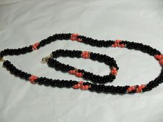 Black Onyx necklace bracelet set, Pink Coral accent beads, twist bead style, vintage gemstone jewelry, Gift for her, GIngerslittlegems by GingersLittleGems on Etsy