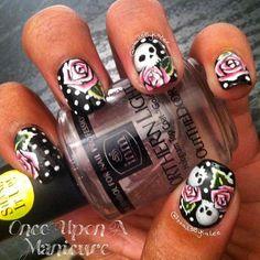 Skulls and roses nail art