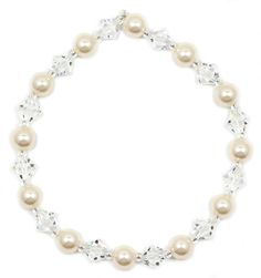 Swarovski Crystal Cream Pearl and Clear Crystal Bracelet – The Crystal Cove