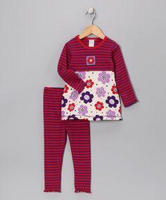 Purple Stripe Flower Tunic & Leggings - Toddler & Girls