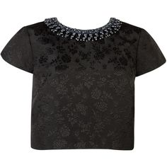 Ted Baker Embellished Floral Jacquard Crop Top, Black ($140) ❤ liked on Polyvore featuring tops, crop top, shirts, blouses, crop shirts, black floral top, black crop top, short sleeve tops e black top