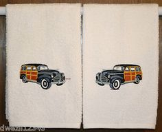 WOODY STATION WAGON-CLASSIC CAR -SET BATH HAND TOWELS