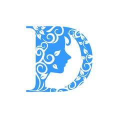 Graphic Design of Flower Clipart - Blue Alphabet D with White Background