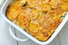 sweet potato & kale gratin recipe - cayenne pepper & garlic instead of nutmeg!