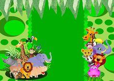 Fazendo a Minha Festa!: Safari Animais- Kit Completo com molduras para convites, rótulos para guloseimas, lembrancinhas e imagens!