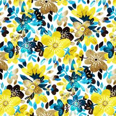 Cheerful Yellow and Turquoise Floral Collage fabric by micklyn on Spoonflower - custom fabric