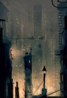 Pascal Campion, The City is like a living painting. Fantasy Landscape, Landscape Art, Fantasy Art, City Wallpaper, Scenery Wallpaper, City Illustration, Digital Illustration, Storyboard, City Drawing