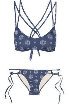 Navy and white stretch-nylon  Top ties at back, briefs tie at sides 91% nylon, 9% spandex; lining: 90% polyester, 10% spandex Hand wash Lotion, sunscreen, oil and chlorine can cause discoloration of this item; this is not a manufacturing defect. Please follow care instructions to keep your swimwear in the best conditionSmall to size. See Size & Fit notes.