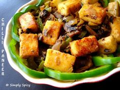 Simply Spicy: Chilli Paneer. Quick and easy to make stir fry with Paneer,capsicum and mushroom.