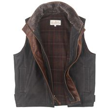 Lonepine Trekker Vest.  The trim is soft Italian full grain calfskin, and the lining is a warm wool blend plaid from Italy.  $825