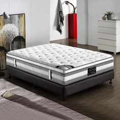 Picture 2 of 18 Euro Top Mattress, Queen Mattress, Double King Size Bed, Bed Springs, Dust Mites, King Beds, Luxurious Bedrooms, Home Living Room, Bed Sheets
