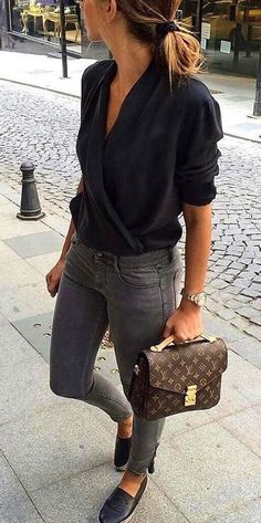 #winter #outfits black 3/4-sleeved shirt with gray skinny jeans and pair of flat shoes