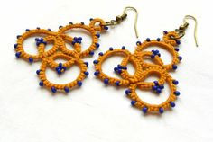 tatted lace earrings mustard and mykonos blue made in Italy beaded jewelry frivolitè